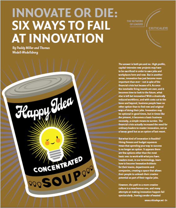 Miller Wedell - six ways to fail at innovation